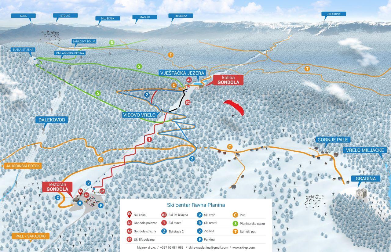 Ski Centar Ravna Planina mapa